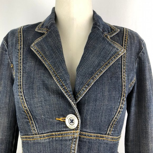 MK Michael Kors Fitted One Button Denim Blazer